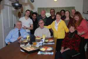 Photo courtesy of Earl Hamner Storyteller & Ray Castro : Earl Hamner, Jr. (center) is joined by the crew of Earl Hamner Storyteller during the shooting of his biography in April of 2014 in Schuyler, Virginia. Ray Castro in the back center in glasses is organizing the 45th reunion of The Waltons' cast held next month in Schuyler.