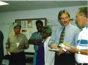 Greg in 1999 talking with folks at CVEC.