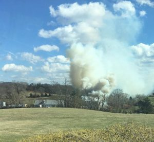 Photo courtesy of Taylor Ashley : By 2:15 to the 2:30 timeframe Friday afternoon, the brunt of the fire had been knocked down, but thick smoke remained. March 3, 2017