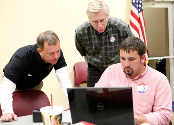 Nick Rush, Eric Branscome and Lauren Yoder check returns in 2011 election.