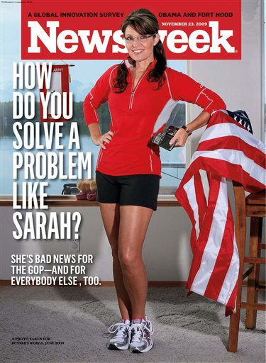 Sarah Palin doing what she does best for Newsweek: Showing off.