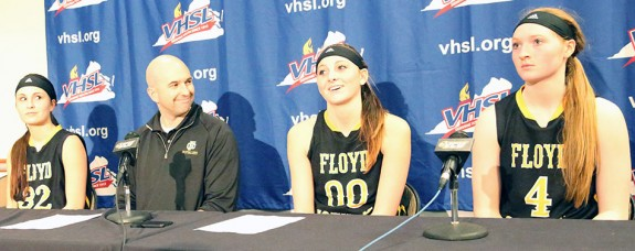 Press conference following the semi-final game: Emily Boothe (left), Travis Cantrell, Carley Lytton and Ragan Wiseman.
