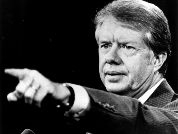 Jimmy Carter, then-candidate for President, speaking in Springfield, Illinois in 1976