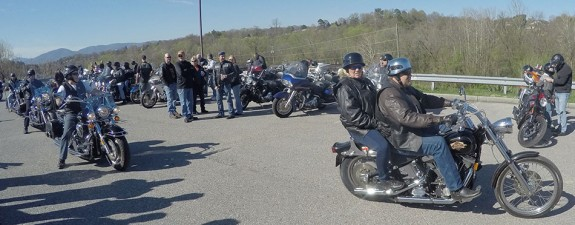 Riders at the Patriot Run start at Roanoke Valley Harley Davidson