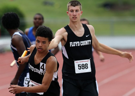 Floyd County's relay team at the VHSL State Meet in 2014.