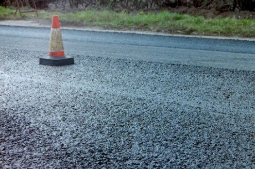 """A """"slurry"""" road surface.  This is pavement?"""