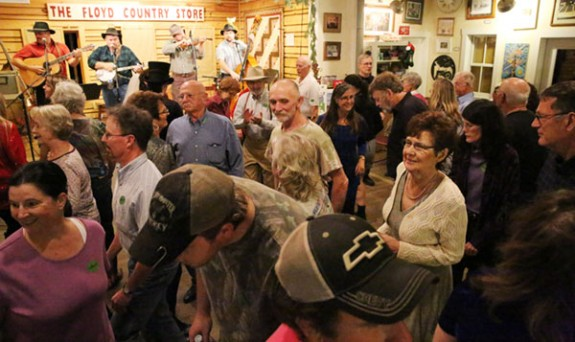 Large crowd danced and enjoyed the music at The Floyd Country Store.