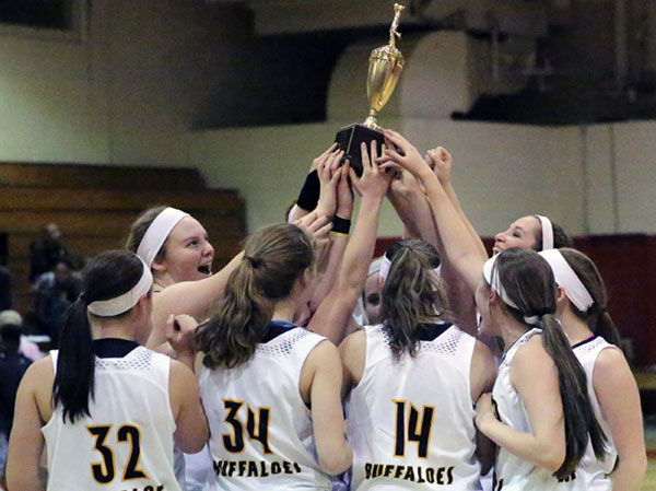 The celebration. The trophy. The Lady Buffaloes. Conference champs for 2016.