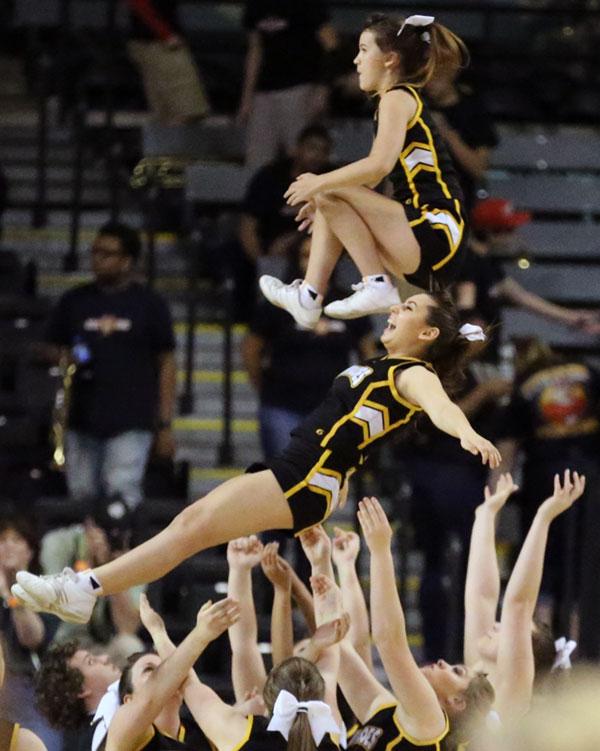 The high-flying Buffalo cheerleaders.