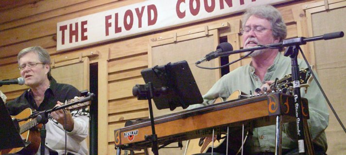 "David Cannaday and Dave Fason perform ""Sundown"" at Gordon Lightfoot Tribute at The Floyd County Store. (A capture from video shot by Doug Thompson)"