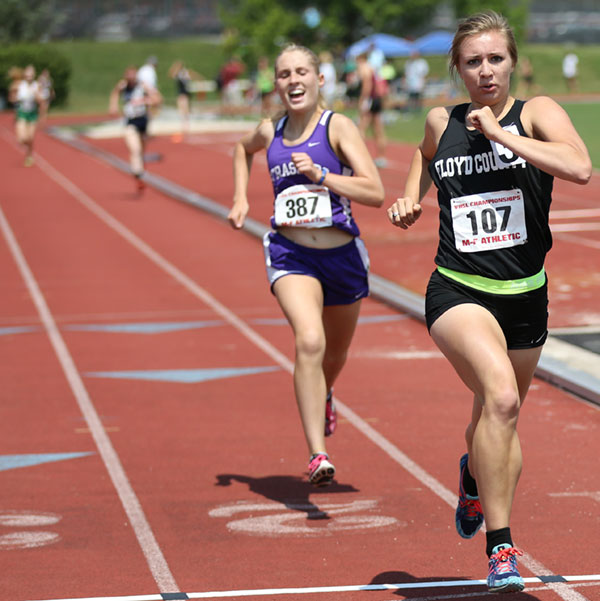 Floyd scores a win in state track meet event in 2015.