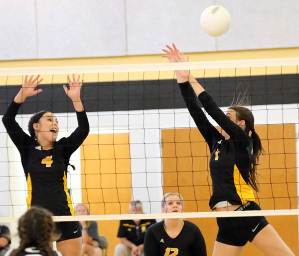 Net action by the Varsity Buffaloes.