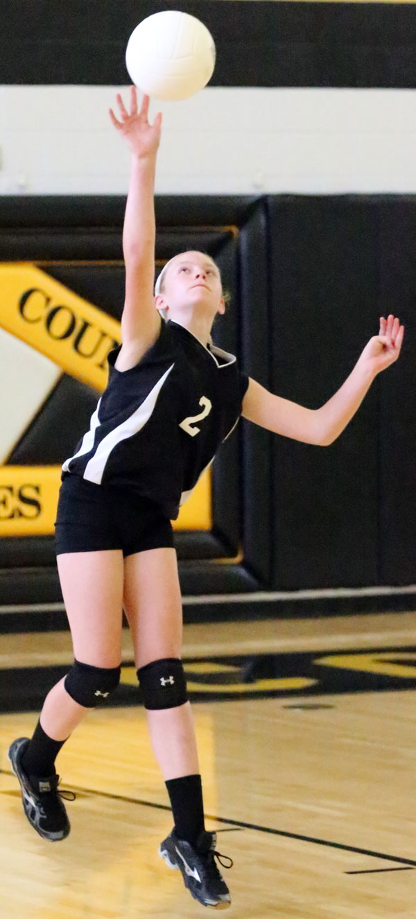 She served for most of the first match at the Lady Buffs went on a long run to lead 19-1.