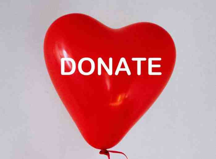 Donate Button on Red Heart Balloon