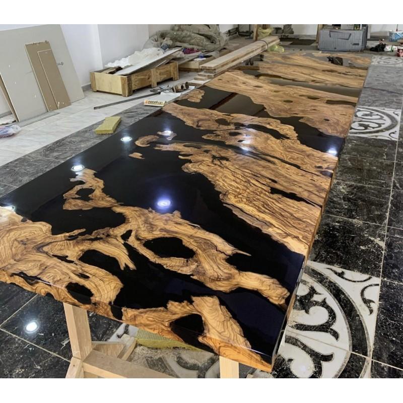 table de reception en olivier massif et resine epoxy noire dimensions 350x110x70 cm