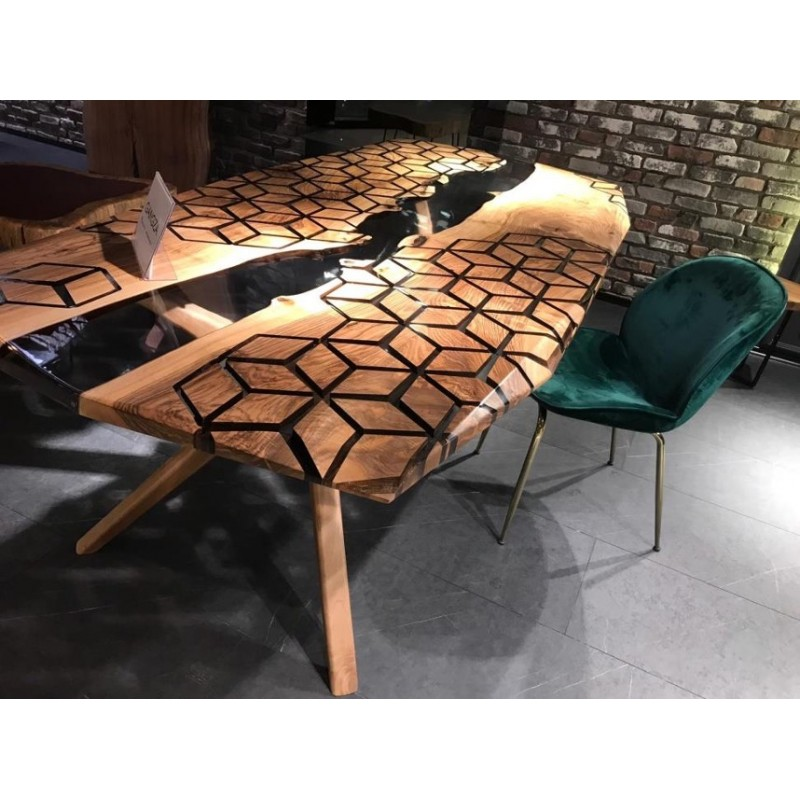 table salle a manger en noyer europeen massif et resine epoxy crystale dimensions 200x80x70 cm