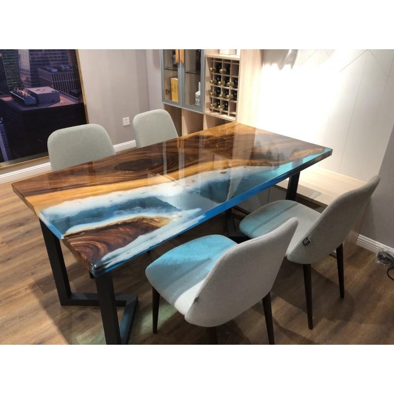 table salle a manger en noyer massif et resine epoxy bleue nacree dimensions 160x80x70 cm