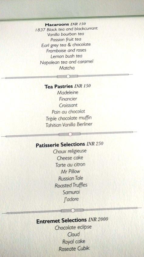 Tea menu at Roasted