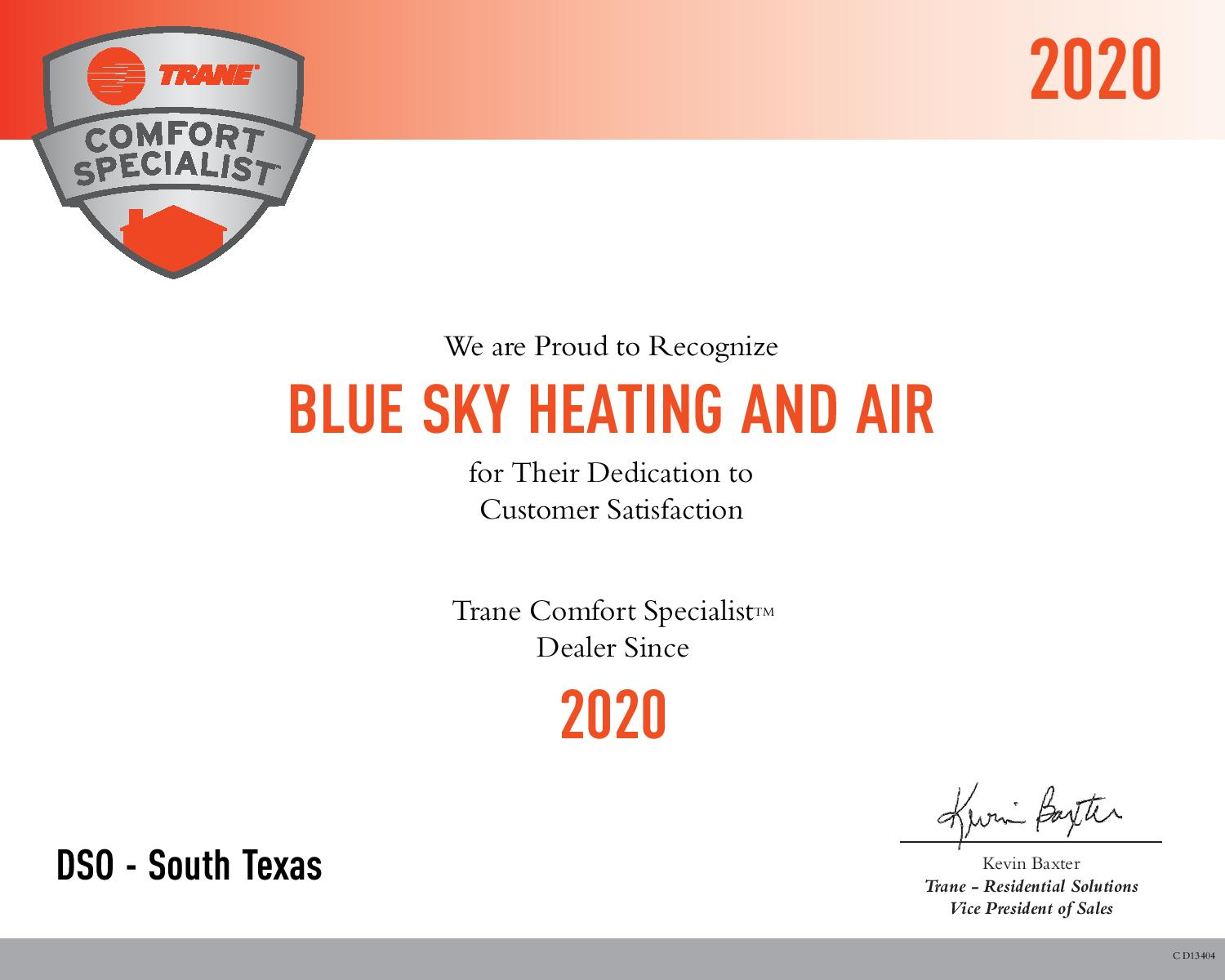 Blue Sky Heating and Air LLC becomes Certified TRANE Comfort Specialist Dealer 2020