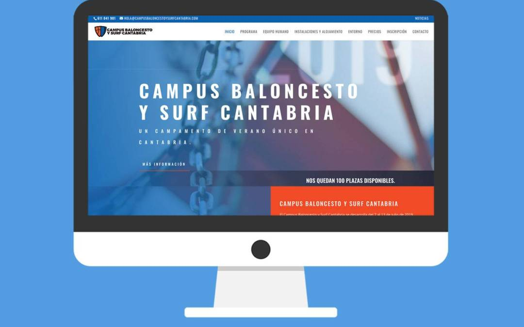 Páginas web Campus Baloncesto y Surf Cantabria