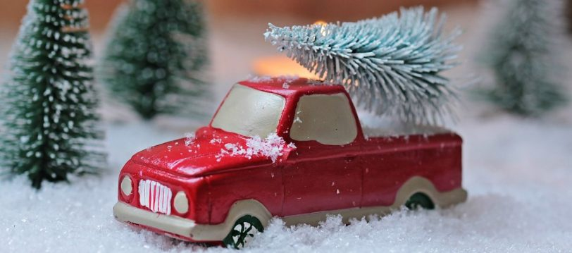 Recruitment at Christmas, with a tree on the car roof