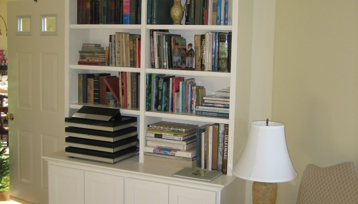 Bookcases, Living room storage cabinetry, custom bookcase