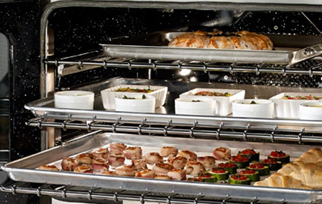 The over-sized oven capacity of the 30-inch Double Electric Wall Oven from BlueStar