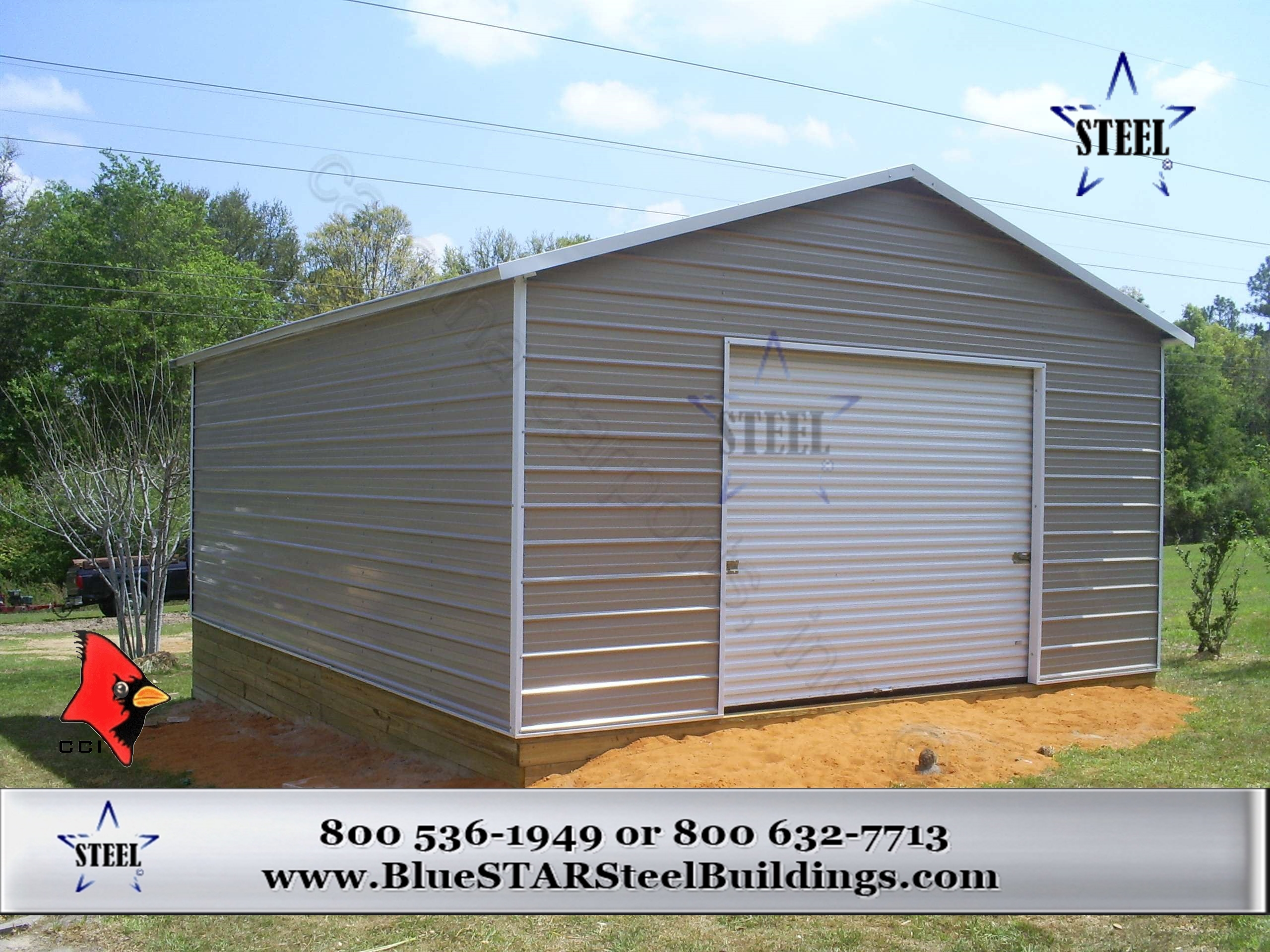 Low cost garages bluestar steel buildings for Garage low cost