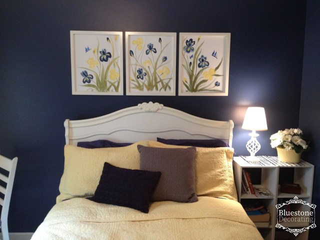 Custom art I painted for over the bed in this teen girl bedroom makeover by Crystal Ortiz, Bluestone Decorating