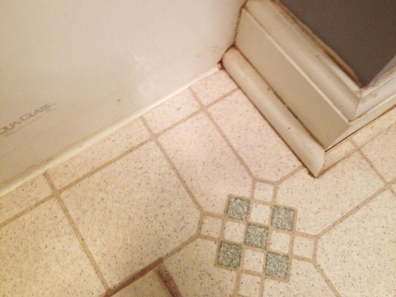 The vinyl floor and baseboards needed a good cleaning and updating