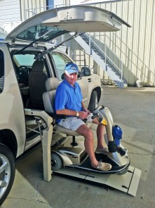 Articulating Chair Lift Installed with Gullwing Door in Cadillac Escalade