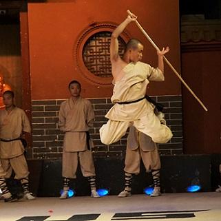 Monk in training demonstrating Kungfu