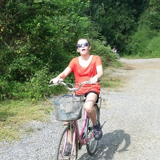 Sophie cycling in Yangshuo