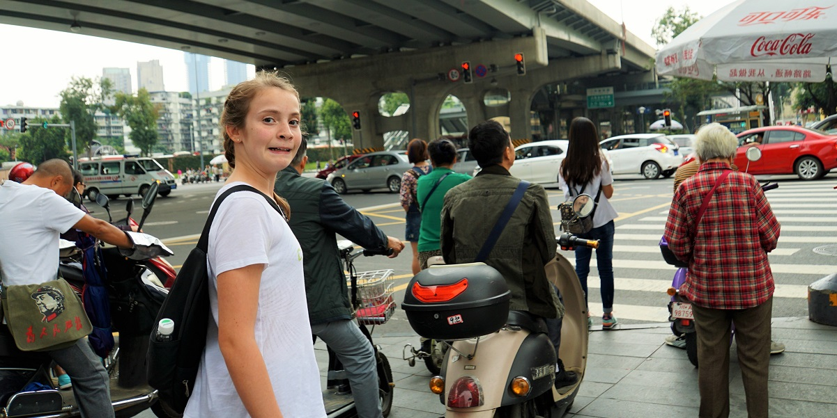Crossing the street in China