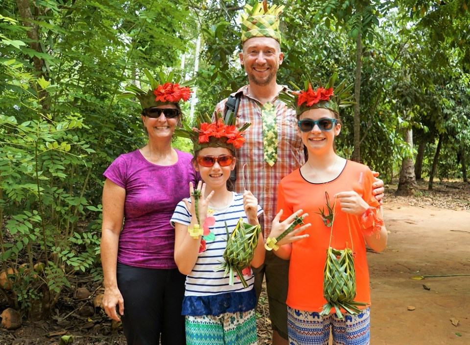 Decked out in banana leaves and flowers