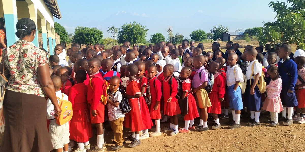 Children line up at the beginning of the school day