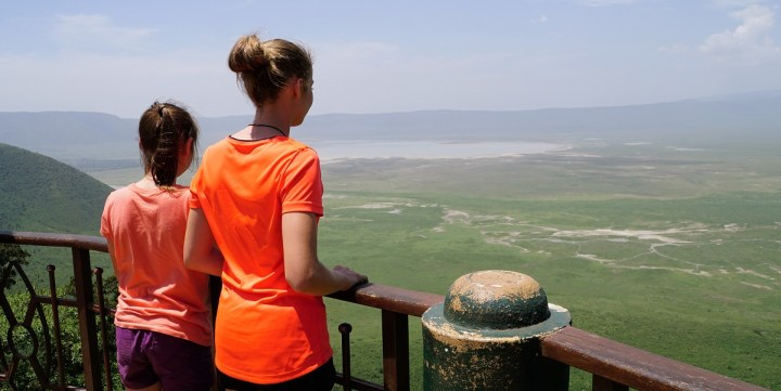 Sophie and Claire look out on the Ngorogoro Crater