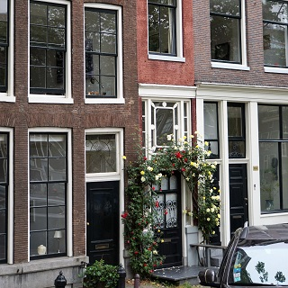 The front door of the narrowest house in Amsterdam is almost as wide as the house itself