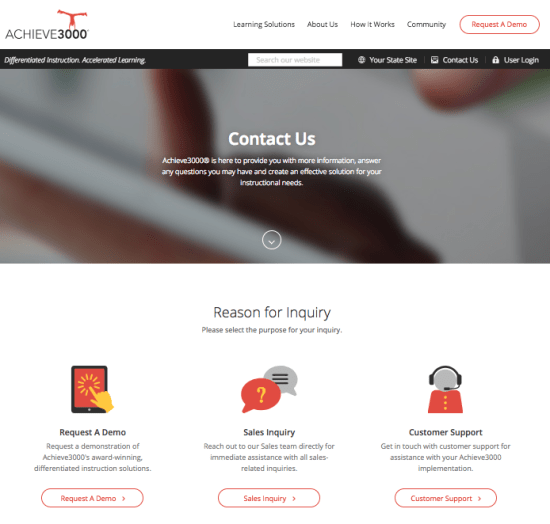 Achieve3000 Contact Us Page