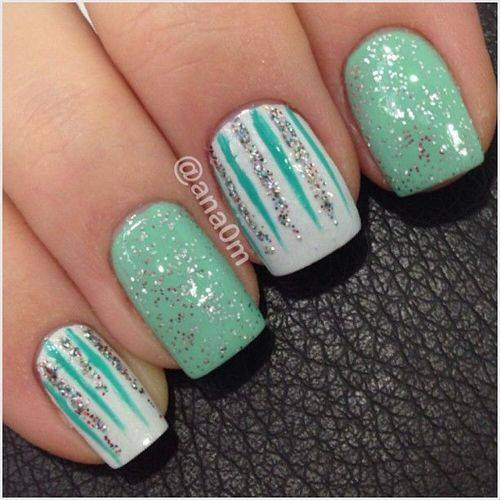 Graceful Green Shimmer Nail Art