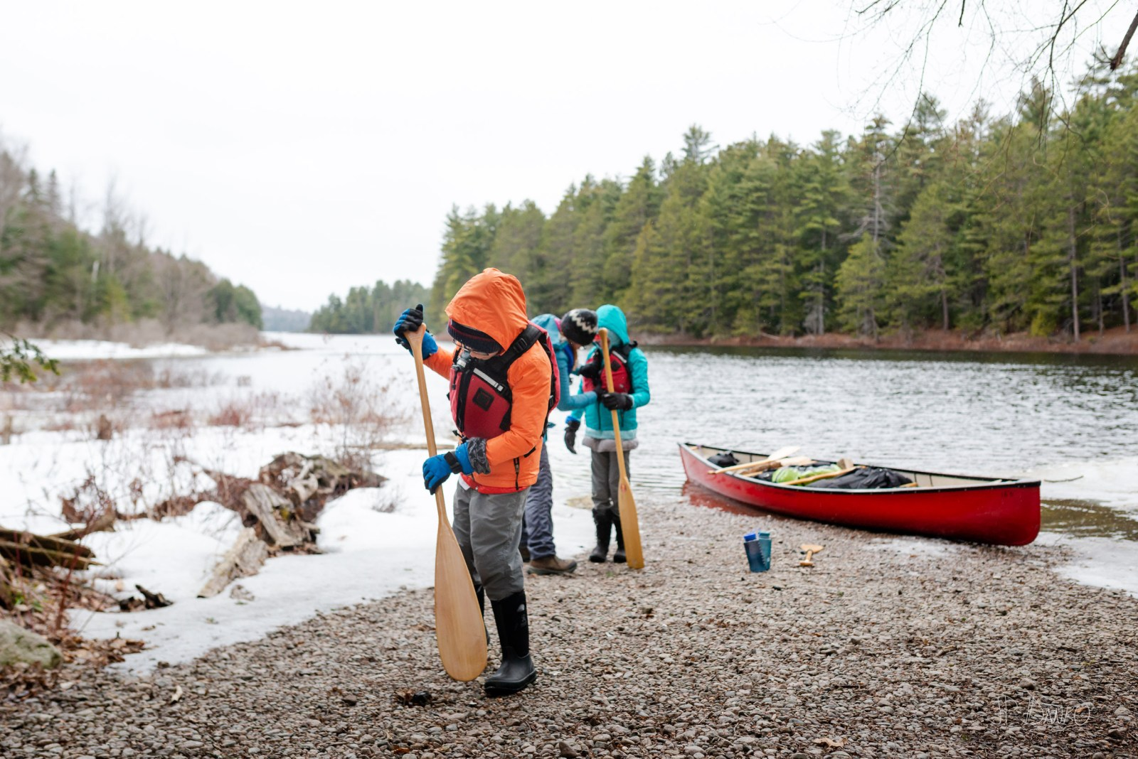 Family Packing Spring Red Canoe Trip Backcountry Wilderness