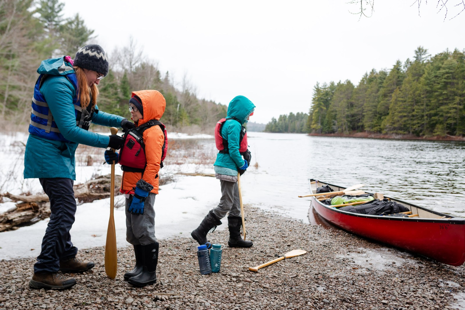 Family Lifejacket Spring Red Canoe Trip Backcountry Wilderness S