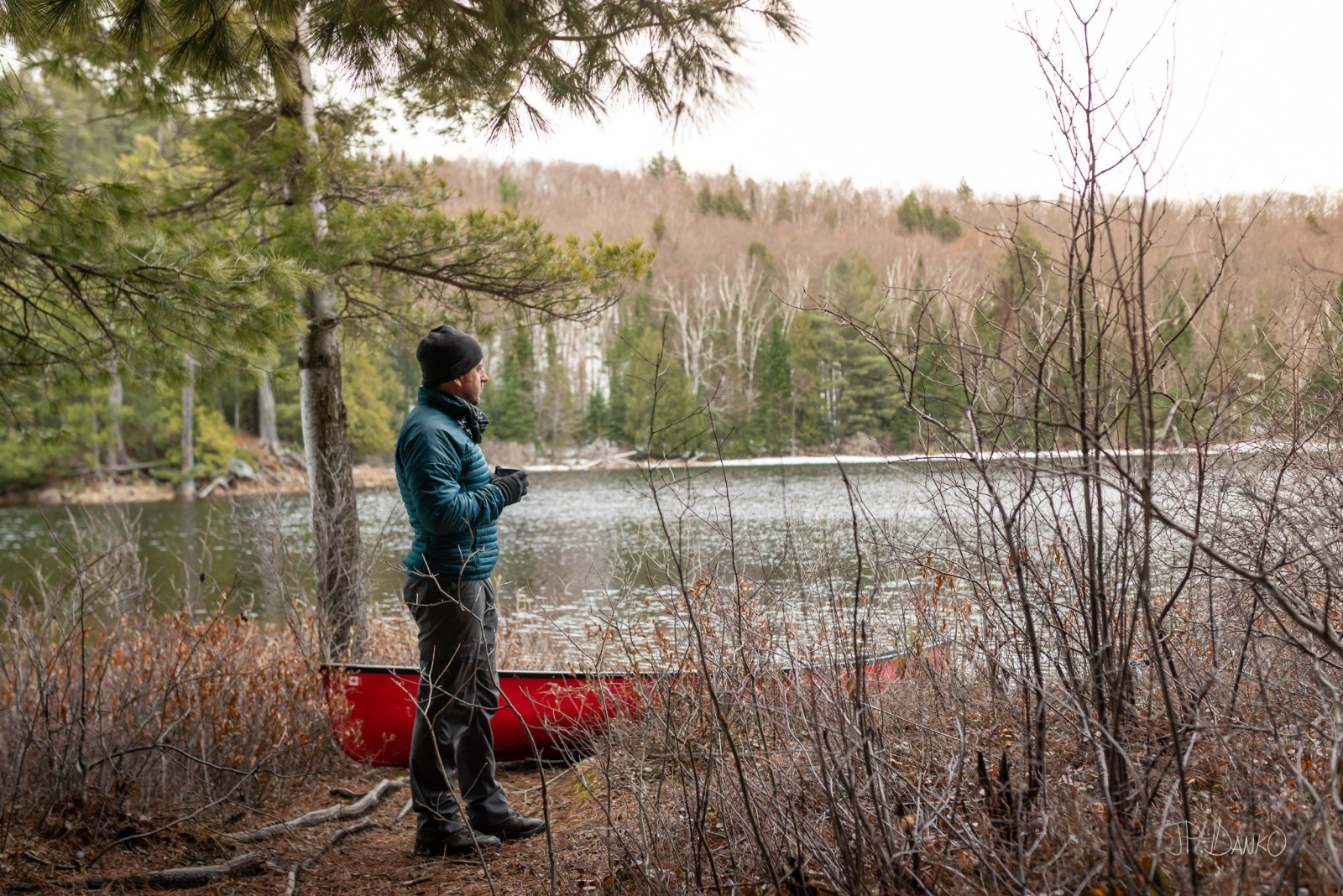 Spring Red Canoe Trip Backcountry Wilderness Snow Morning Coffee