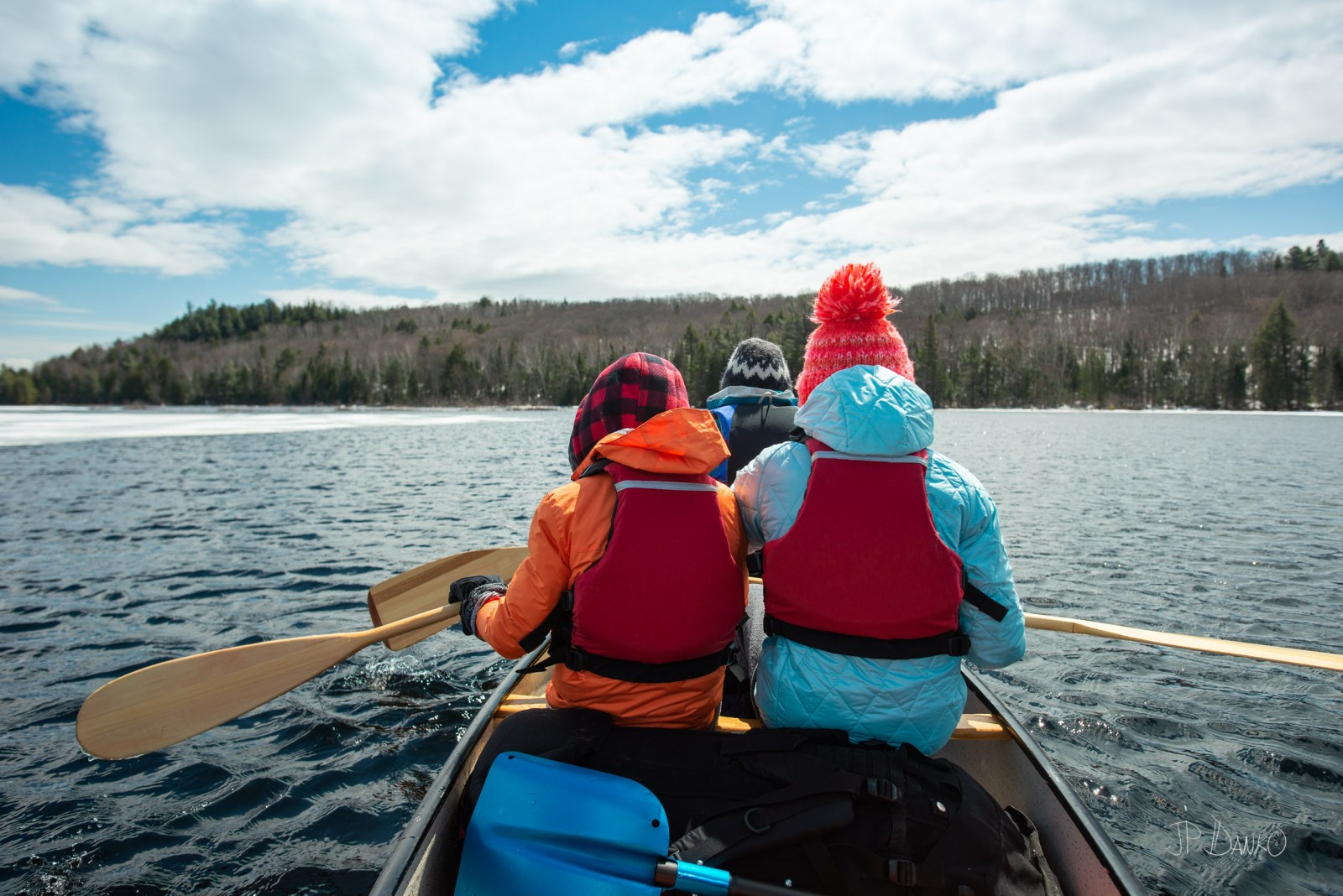 Family Paddling Spring Canoe Trip Backcountry Wilderness Ice Lak
