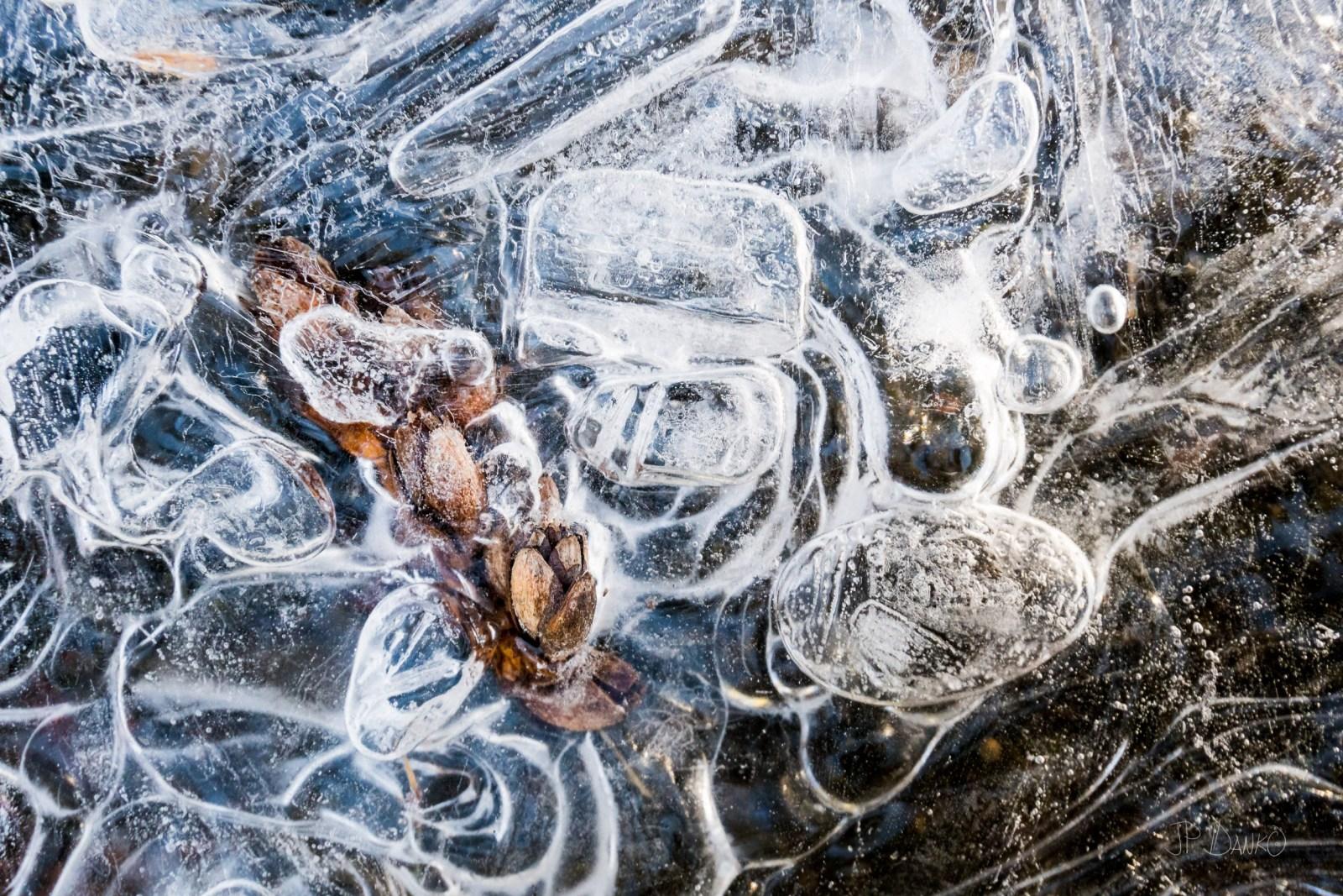 Swirls of fragile ice surround pebbles along shore of lake