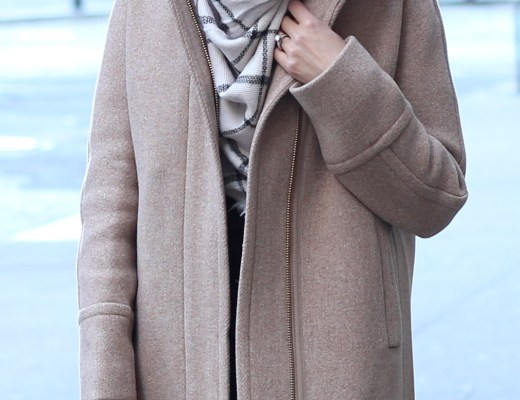 blogger Anna Monteiro of Blushing Rose Style wearing J.Crew coat, blanket BP scarf and BaubleBar Jewelry
