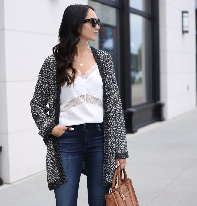 fashion blogger anna monteiro of blushing rose style blog wearing perfect fall cardigan caslon textured boyfriend cardigan from nordstrom
