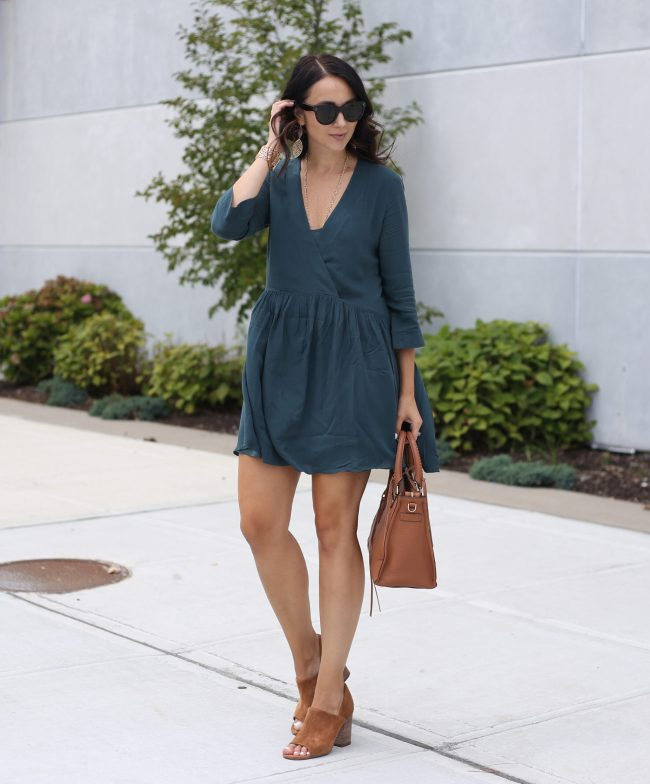 fashion blogger Anna Monteiro of blushing rose style blog wearing perfect fall cardigans and hinge babydoll dress from nordstrom with rebecca minkoff regan satchel