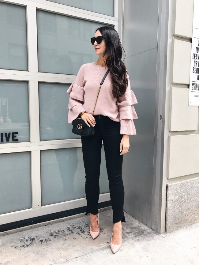 blogger Anna Monteiro wearing paige denim and pink halogen ruffle sleeve pullover in great pair of jeans posy