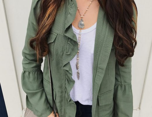 blogger Anna Monteiro of Blushing Rose Style wearing halogen ruffle utility jacket from nordstrom
